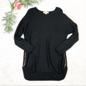 Michael Kors Long Black Sweater Zipper Sides